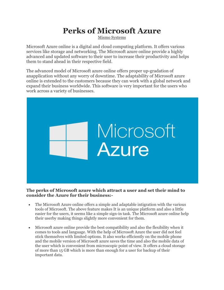 perks of microsoft azure mismo systems n.