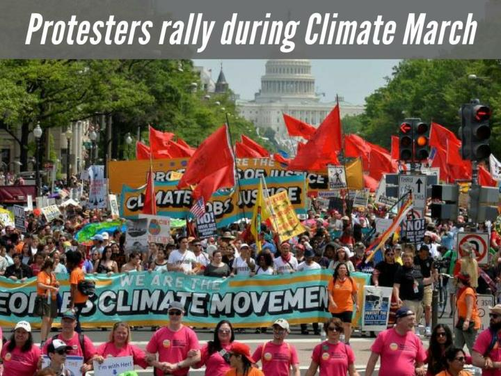 protesters rally during climate march n.