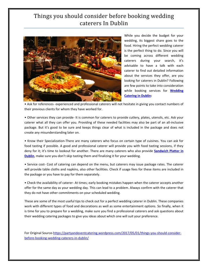 Wedding Caterers Cost.Ppt Things You Should Consider Before Booking Wedding Caterers In