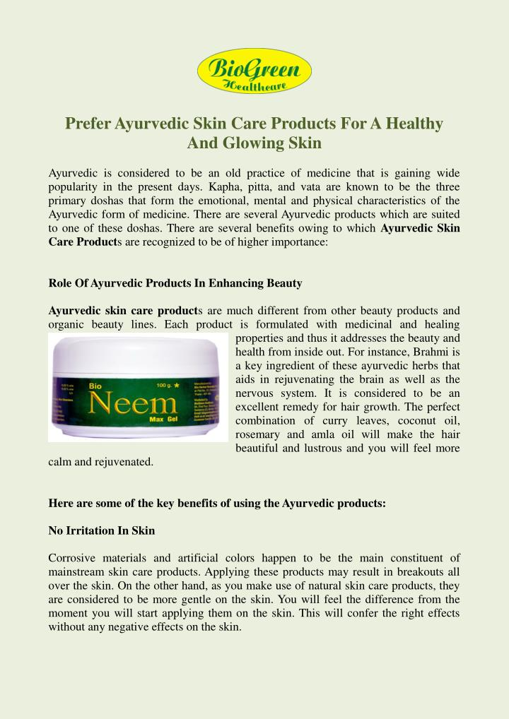PPT - Buy Skin Care Products Online, Ayurvedic Skin Care