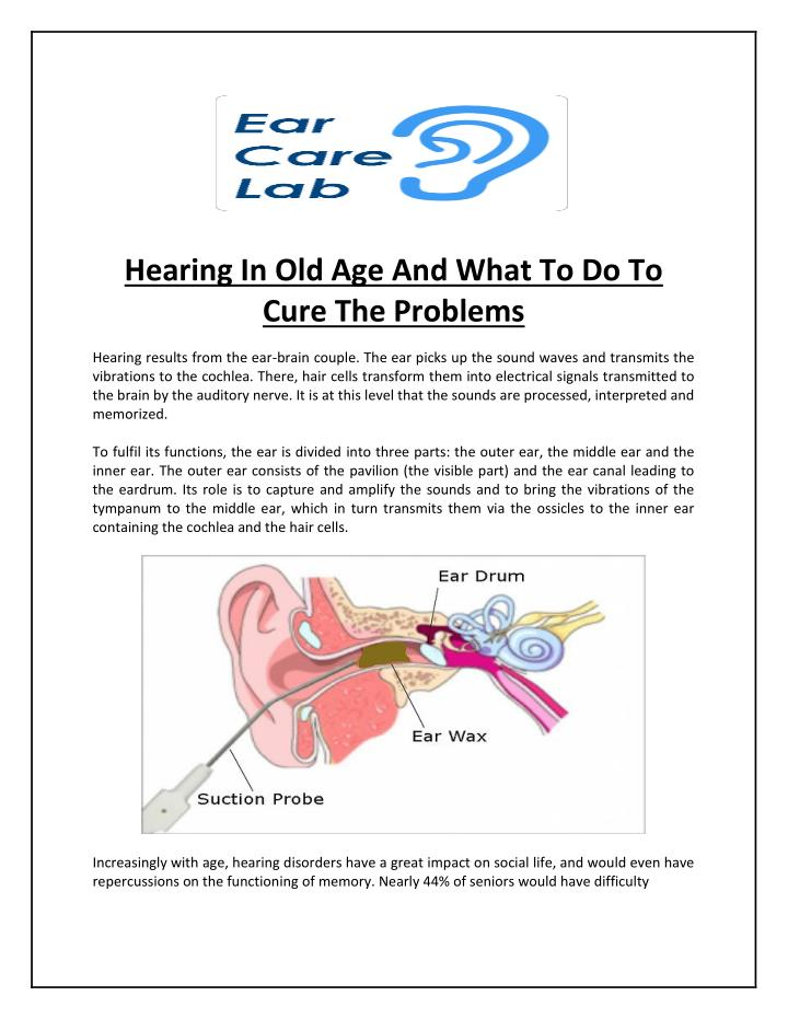 hearing in old age and what to do to cure n.