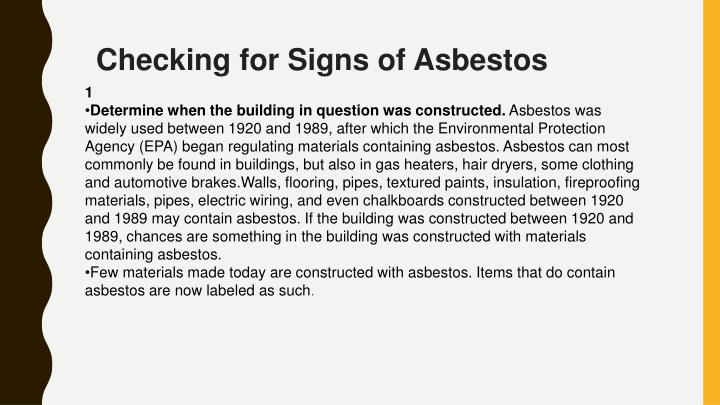 development and testing of asbestos free Alcohol free zones: fireworks in relation to handling or working with asbestos development application enquiries should be referred au - testing for asbestos.