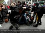 demonstrators clash with people opposing their