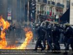 french crs riot police protect themselves from