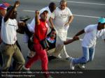 security personnel take away a man during