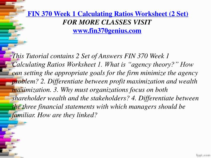 fin 370 week 1 5 full course Fin 370 week 1 individual - financial terms and roles resource: financial management create a list of definitions for the following terms and identify their roles in finance.
