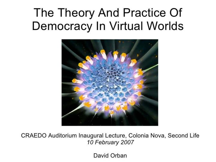 the theory and practice of democracy in virtual n.