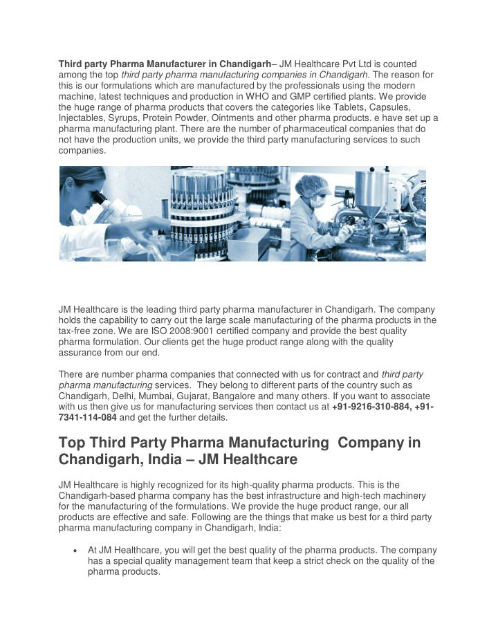 PPT - Third Party Pharma Manufacturer in Chandigarh PowerPoint