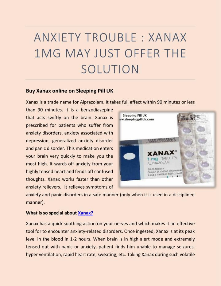 Ppt Anxiety Trouble Xanax 1mg May Just Offer The Solution