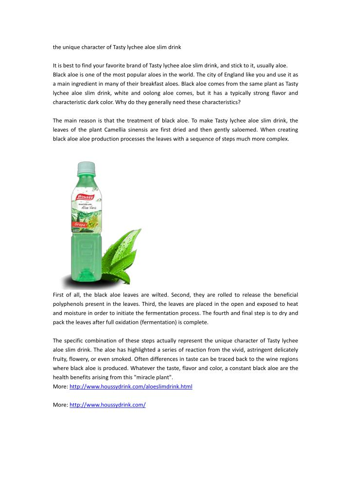 the unique character of tasty lychee aloe slim n.