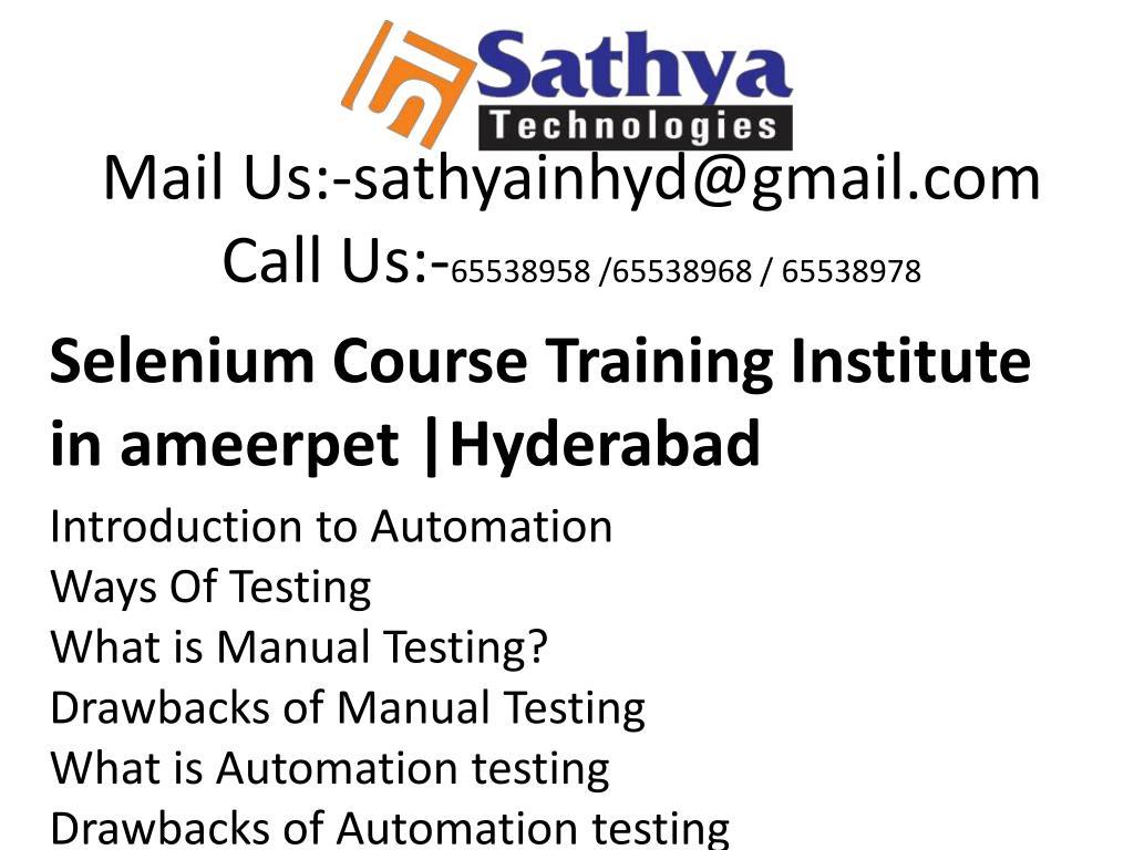 Ppt Selenium Course Training Institute Ameerpet