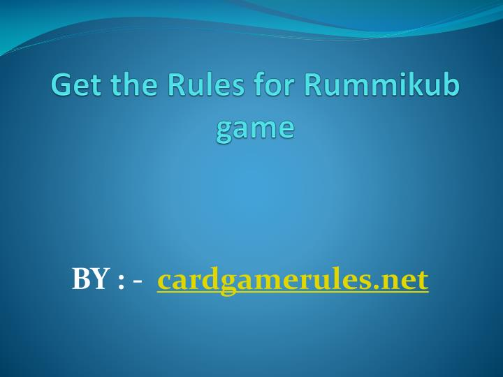get the rules for rummikub game n.