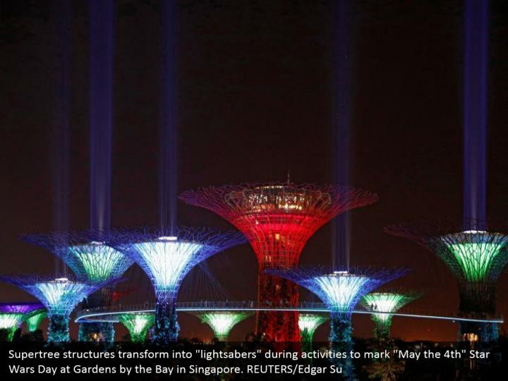 """Supertree structures transform into """"lightsabers"""" during activities to mark """"May the 4th"""" Star Wars Day at Gardens by the Bay in Singapore. REUTERS/Edgar Su"""