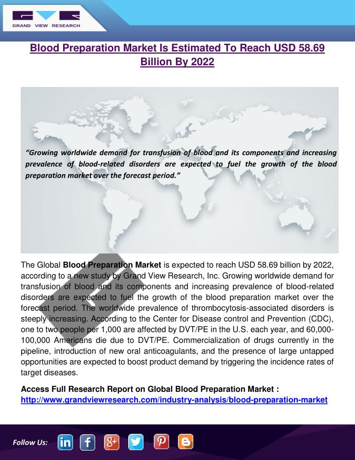 blood preparation market is estimated to reach n.