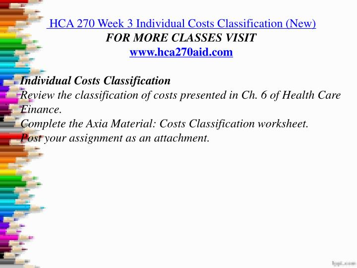 hca 270 cost classifications worksheet Hca 270 week 3 individual costs classification hca 270 week 4 individual annualizing financial concepts and reports worksheet by matching the financial.