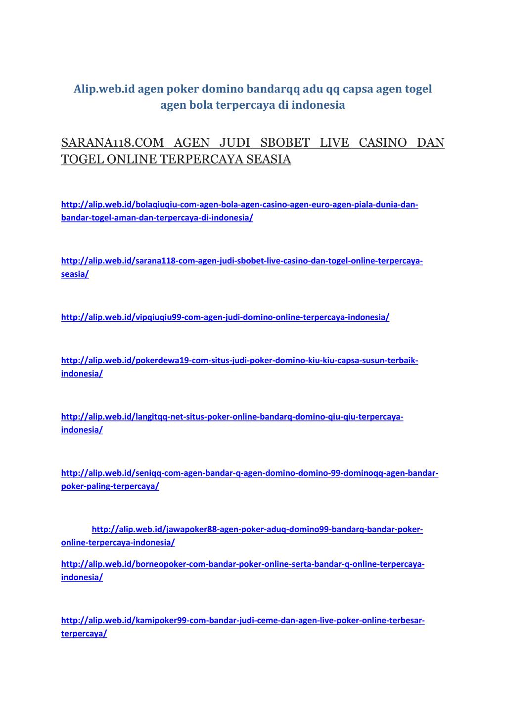 Ppt Agen Poker Aduq Domino99 Bandarq Bandar Poker Online Terpercaya Indonesia Powerpoint Presentation Id 7574743