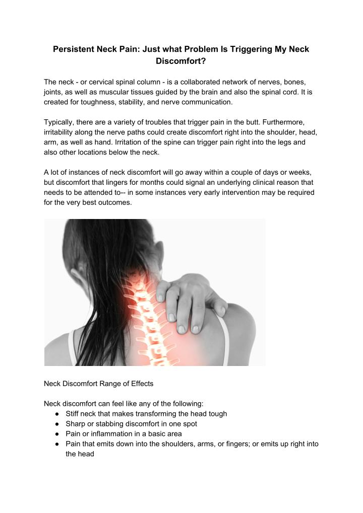 persistent neck pain just what problem n.