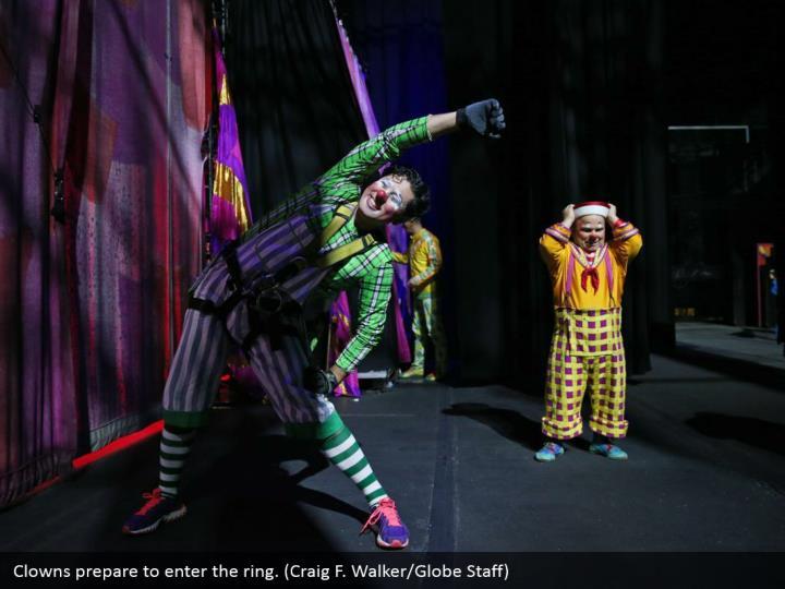 Clowns prepare to enter the ring. (Craig F. Walker/Globe Staff)