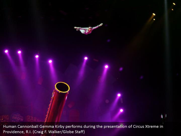 Human Cannonball Gemma Kirby performs during the presentation of Circus Xtreme in Providence, R.I. (Craig F. Walker/Globe Staff)