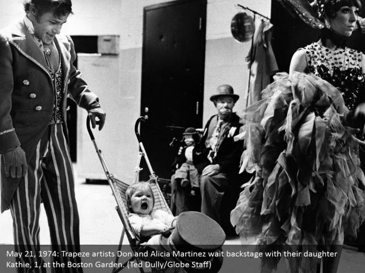 May 21, 1974: Trapeze artists Don and Alicia Martinez wait backstage with their daughter Kathie, 1, at the Boston Garden. (Ted Dully/Globe Staff)