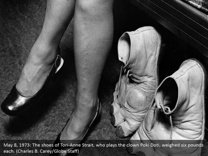 May 8, 1973: The shoes of Tori-Anne Strait, who plays the clown Poki Doti, weighed six pounds each. (Charles B. Carey/Globe Staff)