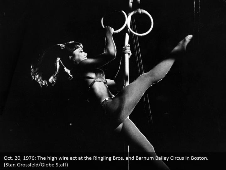Oct. 20, 1976: The high wire act at the Ringling Bros. and Barnum Bailey Circus in Boston. (Stan Grossfeld/Globe Staff)