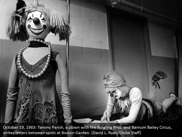 October 19, 1983: Tammy Parish, a clown with the Ringling Bros. and Barnum Bailey Circus, writes letters between spots at Boston Garden. (David L. Ryan/Globe Staff)