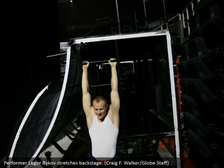 Performer Legor Bykov stretches backstage. (Craig F. Walker/Globe Staff)