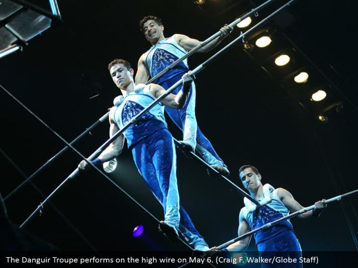 The Danguir Troupe performs on the high wire on May 6. (Craig F. Walker/Globe Staff)
