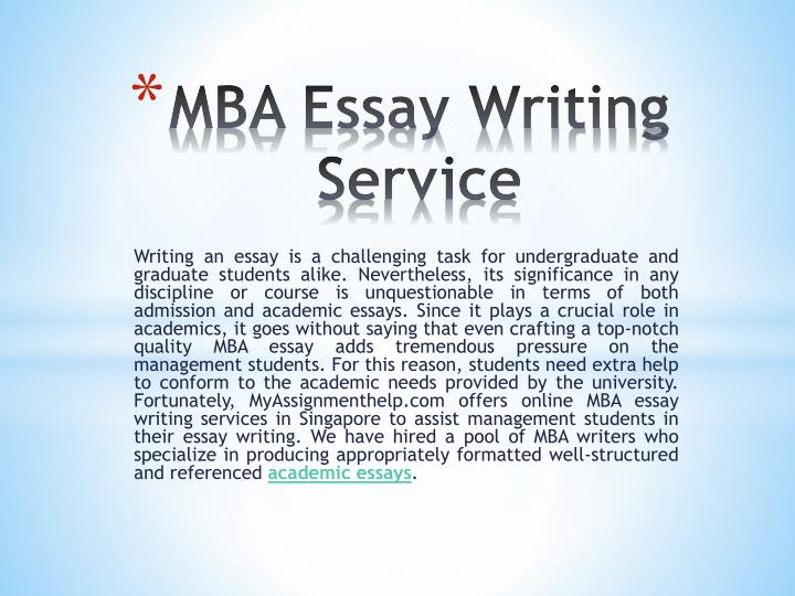 Essay writing for mba