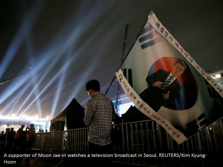 A supporter of Moon Jae-in watches a television broadcast in Seoul. REUTERS/Kim Kyung-Hoon