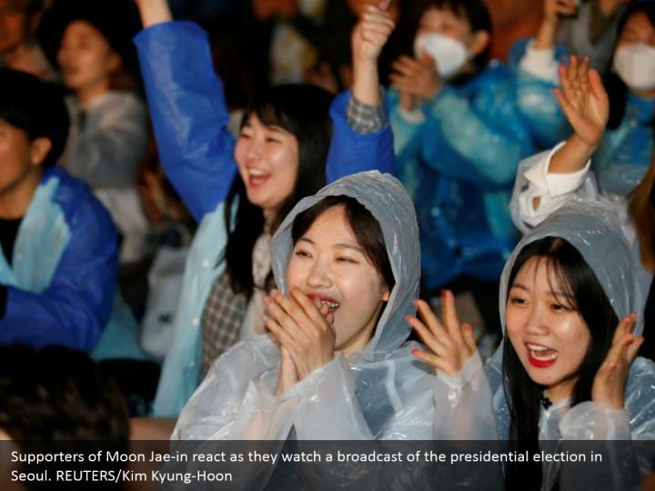 Supporters of Moon Jae-in react as they watch a broadcast of the presidential election in Seoul. REUTERS/Kim Kyung-Hoon