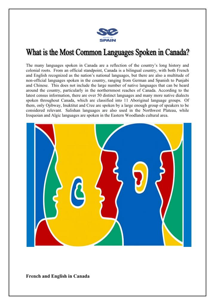 the many languages spoken in canada n.