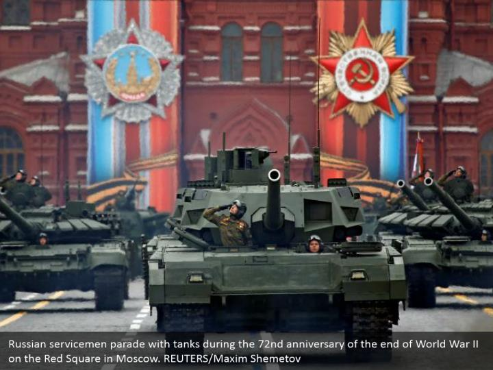 Russian servicemen parade with tanks during the 72nd anniversary of the end of World War II on the Red Square in Moscow. REUTERS/Maxim Shemetov