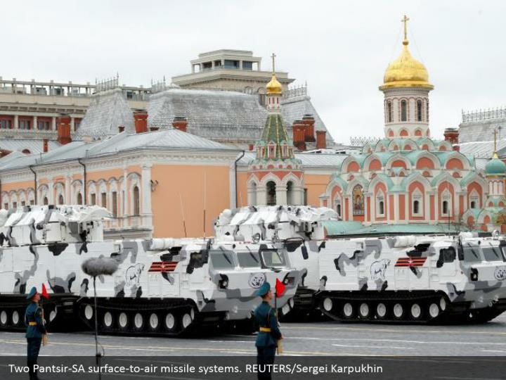 Two Pantsir-SA surface-to-air missile systems. REUTERS/Sergei Karpukhin