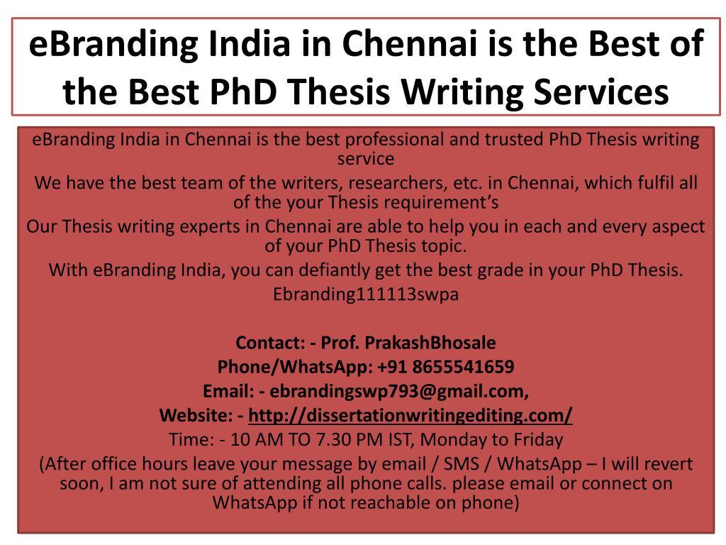PhD Thesis Writing Services in Chennai - PhD Chennai