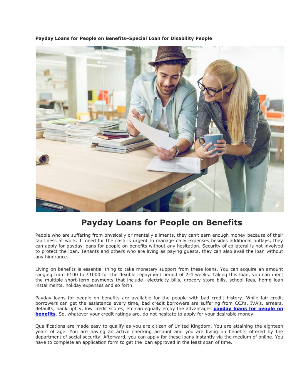 Loans For People On Disability With Bad Credit >> Ppt Payday Loans For People On Benefits Powerpoint Presentation
