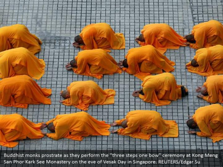 Buddhist monks prostrate as they perform