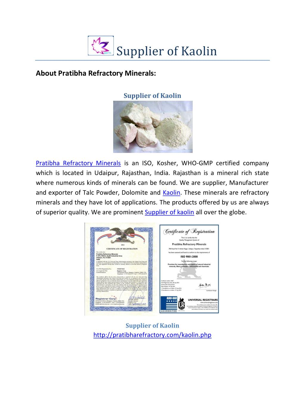 PPT - Supplier of Kaolin-Best Price PowerPoint Presentation - ID:7577277