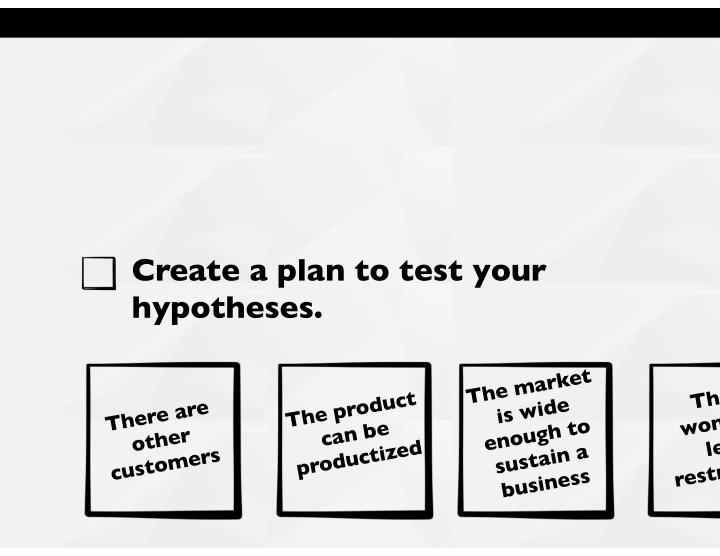 Create a plan to test your