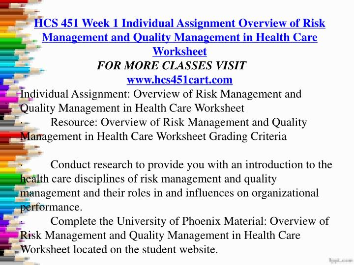 hcs 451 week 3 individual assignment Hcs/451 week 4 health care organizations presentationresources: week two individual assignment, quality dimensions and measures tableresearch inpatient and amb.