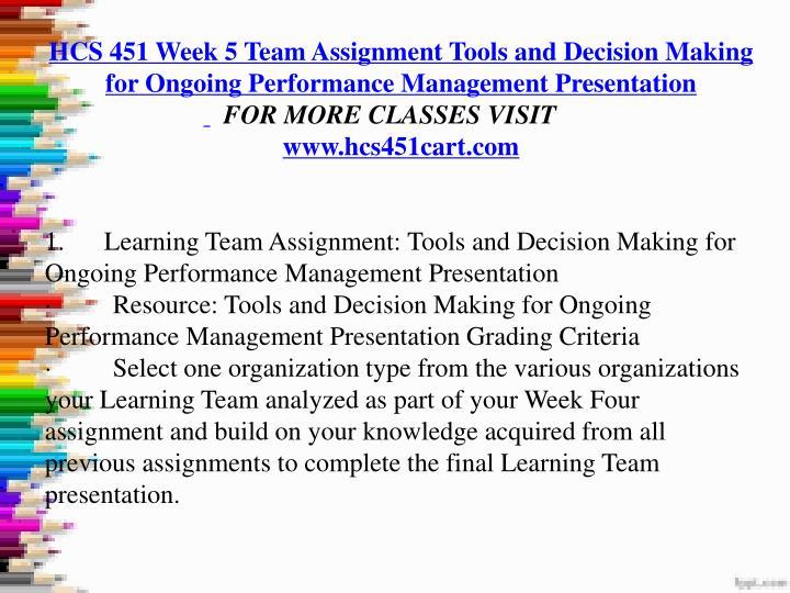 hcs 451 week 5 tools and