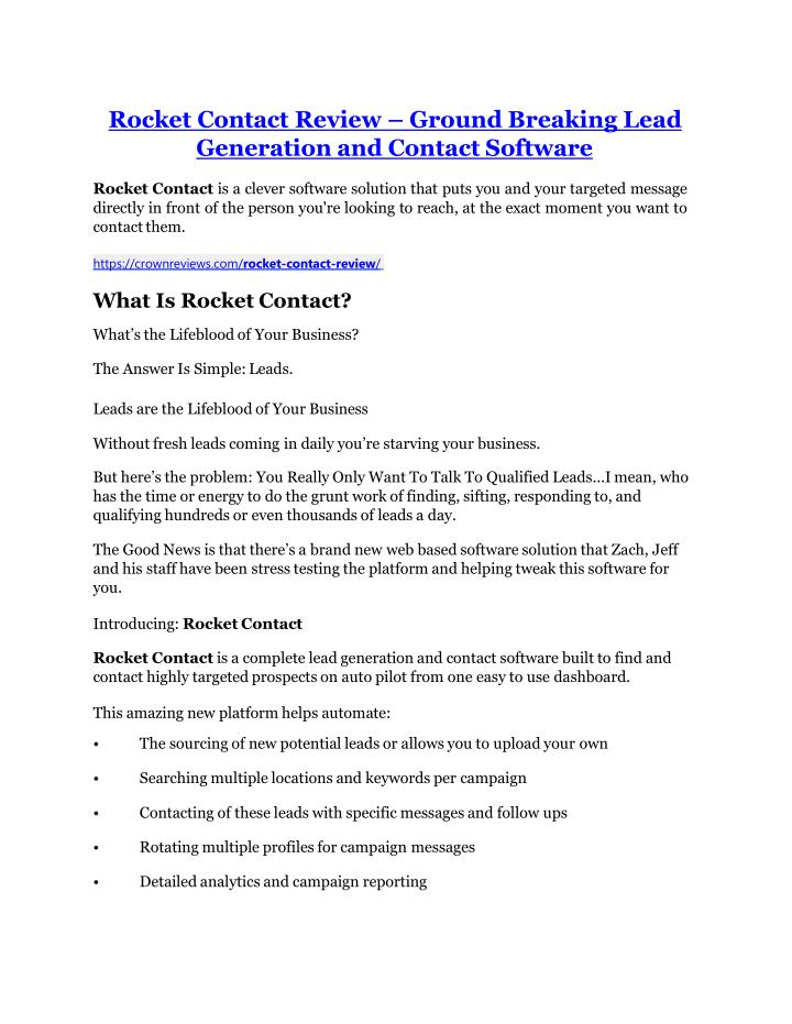 rocket contact review ground breaking lead n.