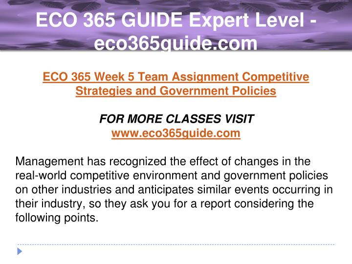 week 5 eco 365 strategies and government policies