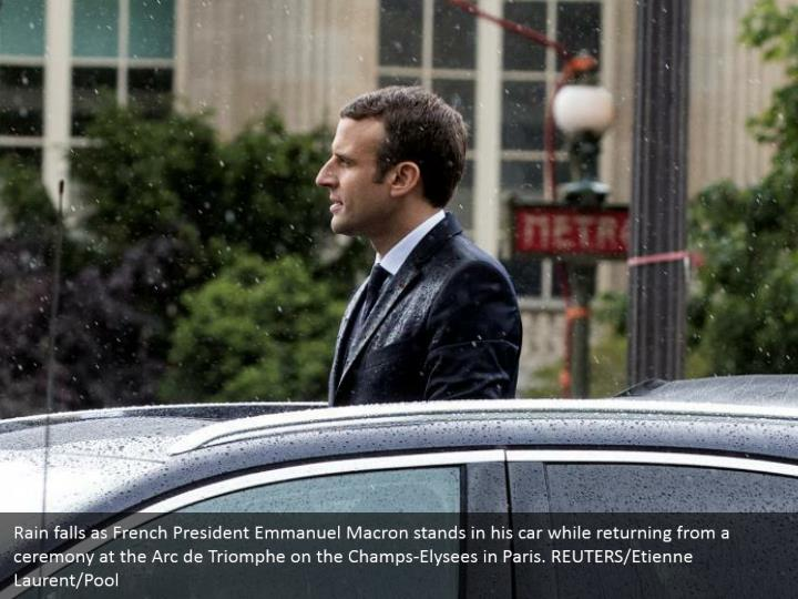 Rain falls as French President Emmanuel Macron stands in his car while returning from a ceremony at the Arc de Triomphe on the Champs-Elysees in Paris. REUTERS/Etienne Laurent/Pool