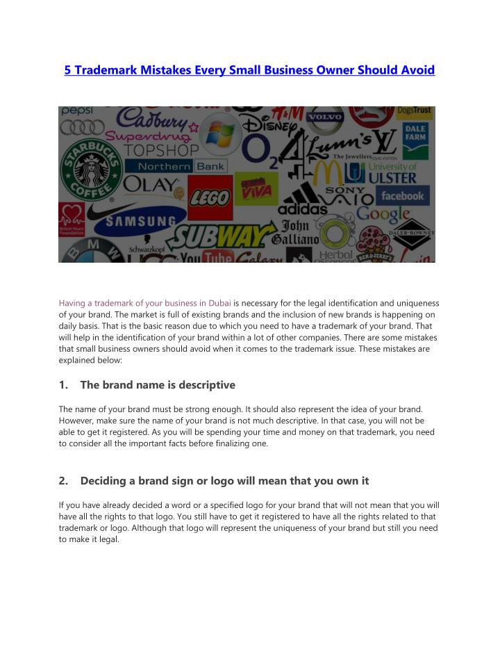 5 trademark mistakes every small business owner n.