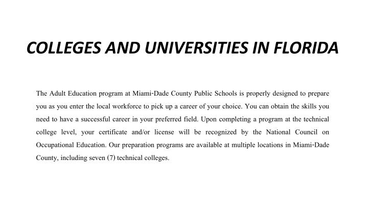 colleges and universities in florida n.