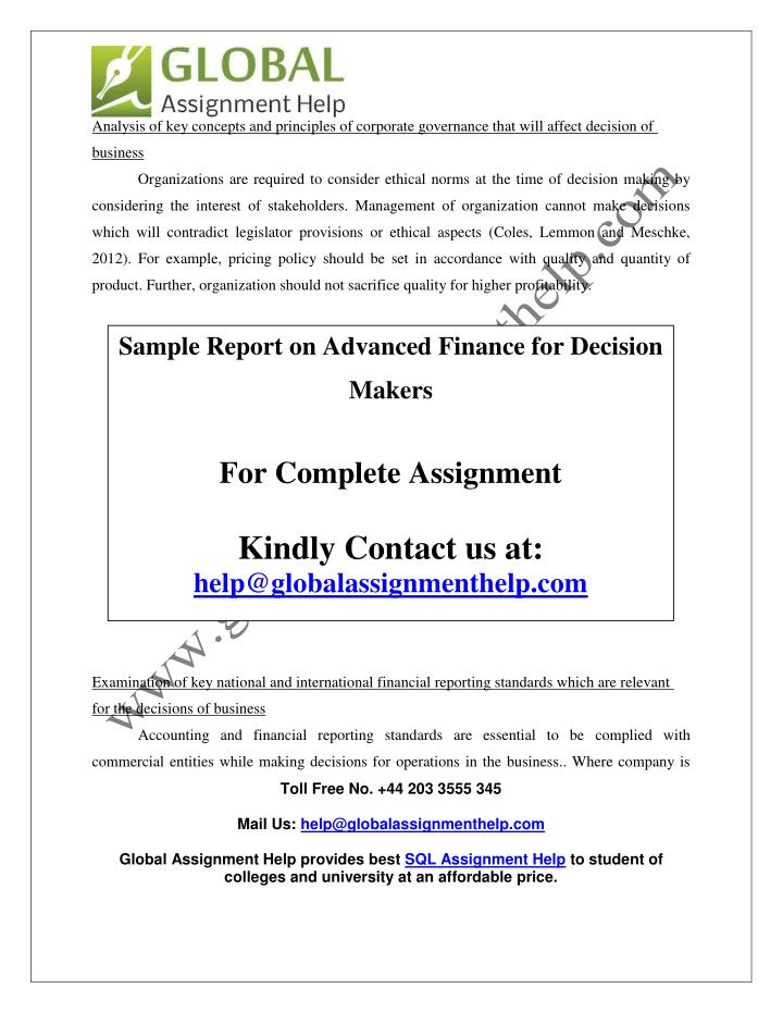 report on the key concepts about