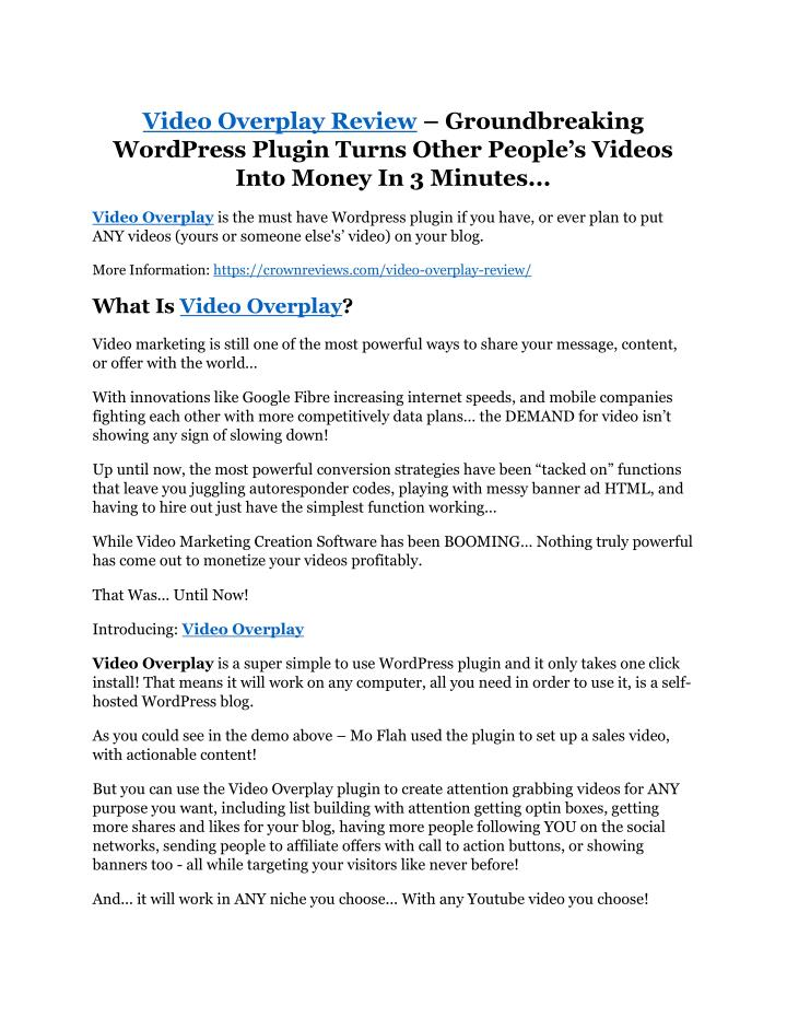 video overplay review groundbreaking wordpress n.
