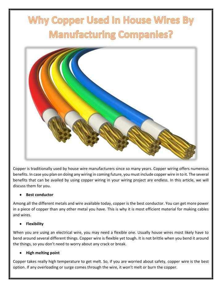 PPT - Why Copper Used In House Wires By Manufacturing Companies ...